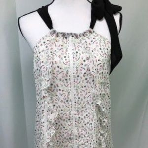 Cynthia Rowley White and Black Floral Halter Top